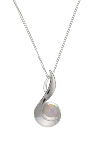 Sterling Silver Swirl Designed Round Opal Necklace